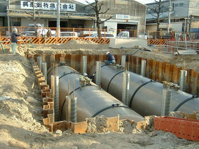 土間採掘後に地下タンクを設置